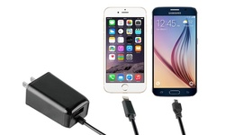 Key 3.4 Amp Dual Wall Charger: Single Pack/attached Micro Usb Cable