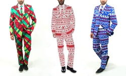 Braveman Men's Christmas Suits: Christmas Plaid/38sx32w
