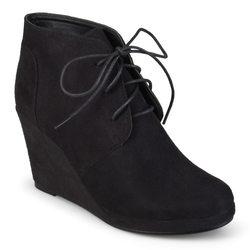 Journee Women's Enter Faux Suede Wedge Booties - Black - Size: 6.5