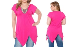 White Mark Women's Plus Size Embellished Tunic - Fuchsia - Size: 2XL
