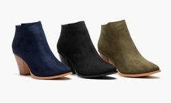 Olive Street Women's Heeled Ankle Bootie: Black/9.5