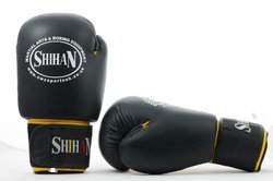Shihan Boxing Leather Gloves Training/Sparring - Black/Yellow - 6 oz