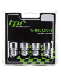 TPI Spinning Chrome Cone Seat Lug/Wheel Locks with Keys 4 Pks
