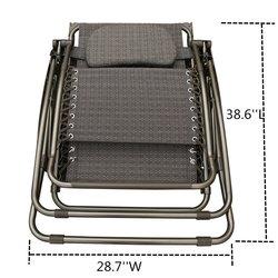 Abba Patio Oversized Recliner Zero Gravity Chair - Black