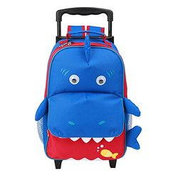 Yodo Zoo 3-Way Toddler Backpack with Wheels - Shark - Blue/Red