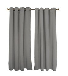 """FY-Living Microfiber Solid Woven Curtains Set - Grey - Size: 52"""" x 63"""""""