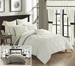 Chic Home CS0583-AN 20 Piece Jacksonville Complete Bed Room In A Bag Super Pinch Pleated Design Reversible Chevron Pattern Comforter Set, Sheet, Window Treatments And Decorative Pillows, Queen, Beige