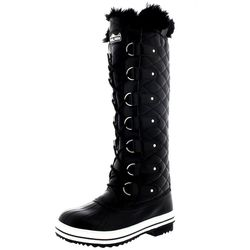 Polar Women's Quilted Knee High Fur Lined Lace Up Boots - Black - Size: 9