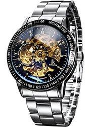 Alienwork IK Watch Self-Winding Skeleton Mechanical - Black Silver - SS