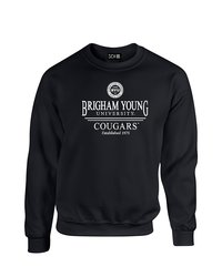 NCAA Byu Cougars Classic Seal Crew Neck Sweatshirt - Black - Size: Medium