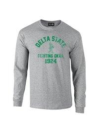 Sdi NCAA Delta State Statesmen Mascot Long Sleeve T-Shirt - Grey - Size: S