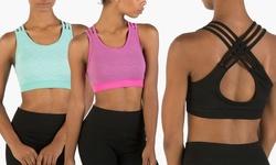 Form+Focus Women's 2Pk Multi-Strap Seamless Sports Bra - Black/Mint - L/Xl