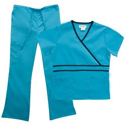 Ladies Mock Wrap and Flare Pant Scrub Set - Water Blue/Navy - X-Small