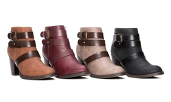 Olive Street Women's Heeled Buckle Bootie - Cognac - Size: 6