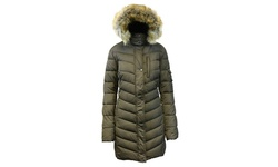 Spire By Galaxy Women's Heavyweight Bubble Jacket - Olive - Size: Small