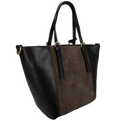 H & S Women's Lala Leather Structured Shoulder Bag - Black/Taupe