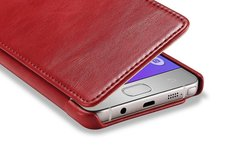 Icarer Leather Flip Folio Case for Samsung Galaxy Note 5 - Red
