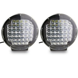 "TurboSII 9"" Pair Round 96W Indensity LED Spot Light for Bumper/Roof- Black"