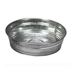 "American Metalcraft 12"" Diameter Natural Galvanized Metal Tub - Round"