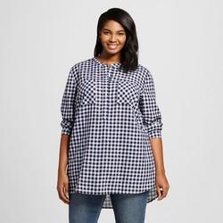 Merona Women's Plus Size Button Down Shirt - Navy Check - Size: 2X