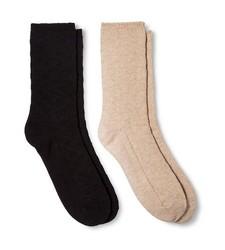 Merona Women's Casual Boot Socks - Oatmeal/Black - Pack of 2