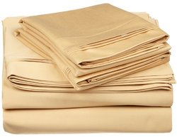 650TC 100  Cotton Solid King 4PC Sheet Set  Gold