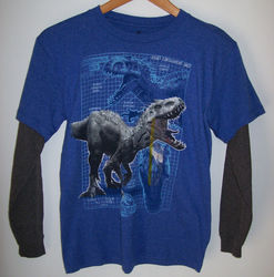Jurassic World Boys Long Sleeve Indominus Rex T Shirt - Royal Blue/Size: S