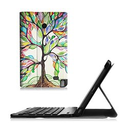 Fintie LG G Pad F 8.0/G Pad II 8.0 Keyboard Case - Ultra Slim Cover Magnetically Detachable Wireless Bluetooth Keyboard for [AT&T V495/T-Mobile V496/US Cellular UK495/G Pad 2 8.0 V498], Love Tree