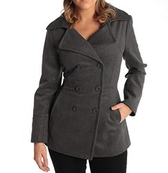 Alpine Swiss Emma Double Breasted Peacoat As701: Grey Large