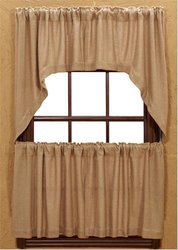 "Burlap Natural Cotton Window Tiers (set Of 2) 24"" X 36"" Each"