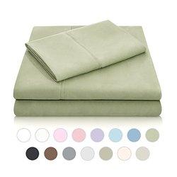 Malouf Double Brushed Luxury Bed Sheet Set - Fern - Size: Twin