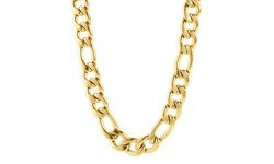 """West Coast Men's Gold Plated Stainless Steel 24"""" Figaro Chain Necklace"""
