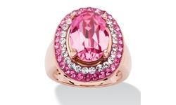 Palm Beach Women's Oval Cut Rose Crystal Cockail Ring