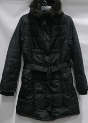 Junior Women's Belted Puffer Jacket with Fur-Lined Hood - Black - Size: XL