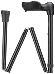 """Unisex 33"""" to 37"""" Adjustable Molded Palm Grip Foldable Walking Cane -Black"""