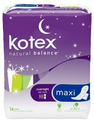 Kotex Overnight Maxi Pads - 14-Count - Pack of 2