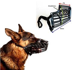 Basket Cage Dog Muzzle Size 4 - MEDIUM - Adjustable Straps - BLACK, by Downtown Pet Supply