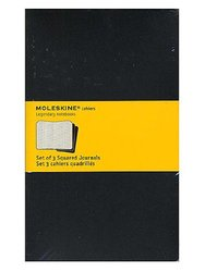 Moleskine Cahier Journals Black, Graph 5 In. X 8 1/4 In. Pack Of 3, 80 Pages Each [pack Of 3 ]