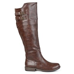 Brinley Co. Women's Regular and Wide-Calf Knee-High Double-Buckle Riding Boot Brown 9