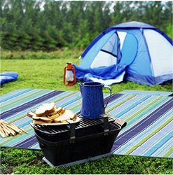 Cherbell Thin Waterproof Blue Beach Blanket Mat Picnic Mat Camping Mat For Outdoor Hiking Family BBQ
