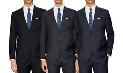 Verno Men's Classic-fit Pinstripe Suit: Navy / 34rx28w