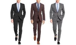 Verno Men's Classic Fit Birdseye Stripe Suit: Classic Black/42lx36w