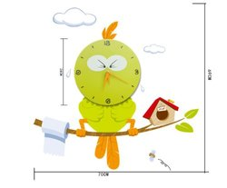 Life Taste Cartoon Bird PVC Sticker Wall Clock