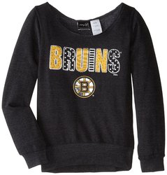 NHL Boston Bruins Patterned Wide Neck Fleece - Black - Size: Small