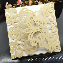 Womhope Flower Hollow Laser Cut Lace Shimmer Wedding Cards 50 Pcs - Gold