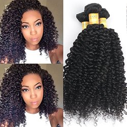 Lemail Wig Hair Brazilian Curly Virgin Hair - Weave - 3 Bundles - Black