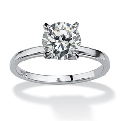 2 TCW Round Cubic Zirconia Solitaire Ring in Sterling Silver - Size: 5