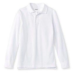 Cherokee Boys' Long-Sleeve Pique Polo True - White - Size: Large