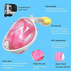 Octobermoon 180 Full Face Free Breathing Snorkeling Mask - Pink