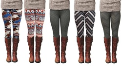 Emerge Worldwide Women's Chevron Print Fashion Leggings - Black/Grey - S